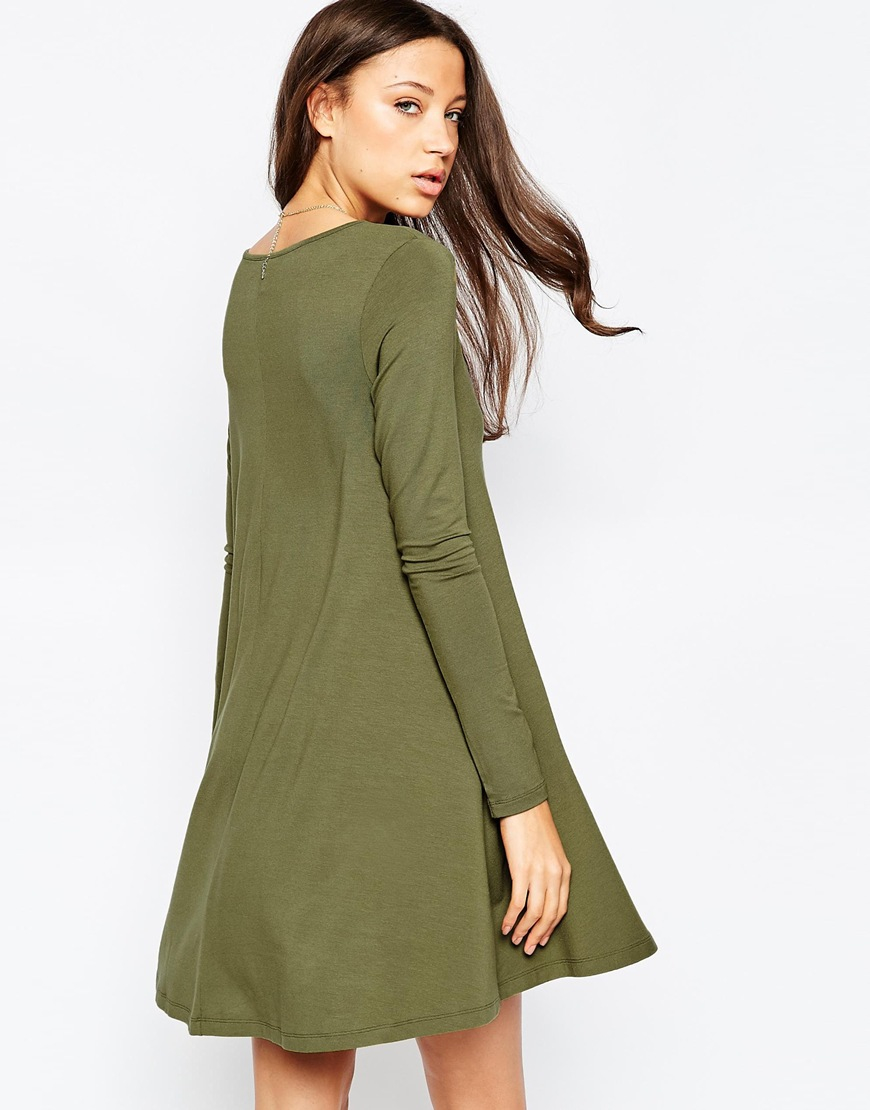 Lyst Asos Tall Swing Dress With Button Front In Green
