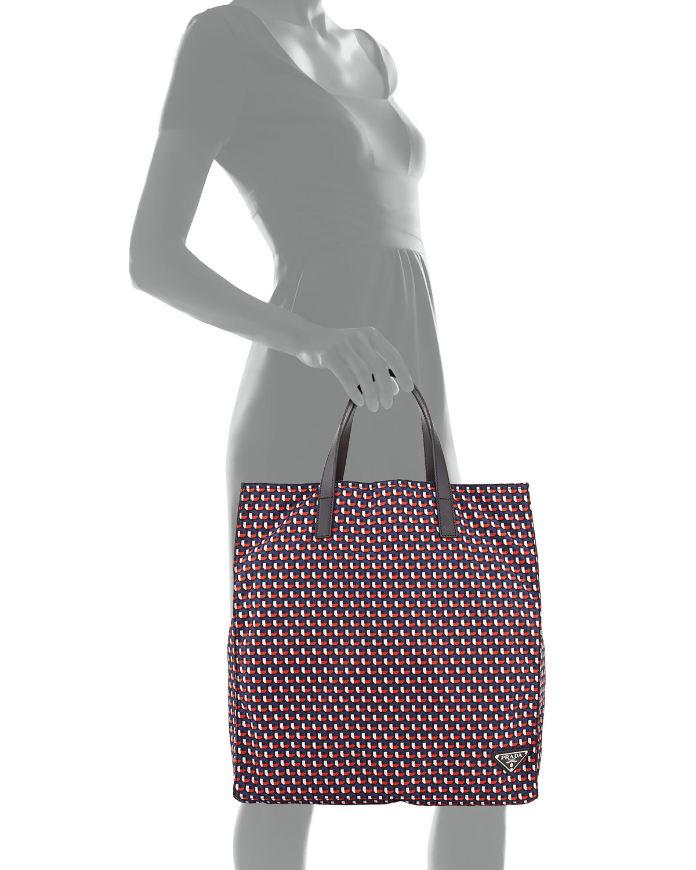 57fce02a1d Lyst - Prada Men s Octagon-print Nylon Tote Bag in Red