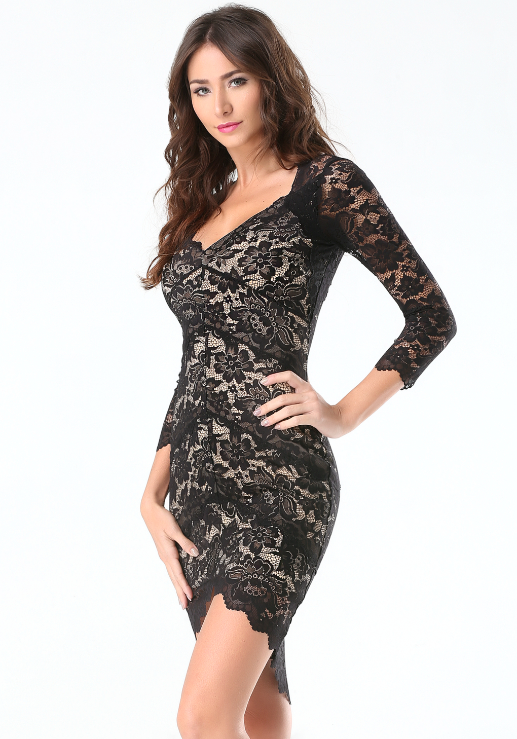 Lyst Bebe 3 4 Sleeve Lace Panel Dress In Black
