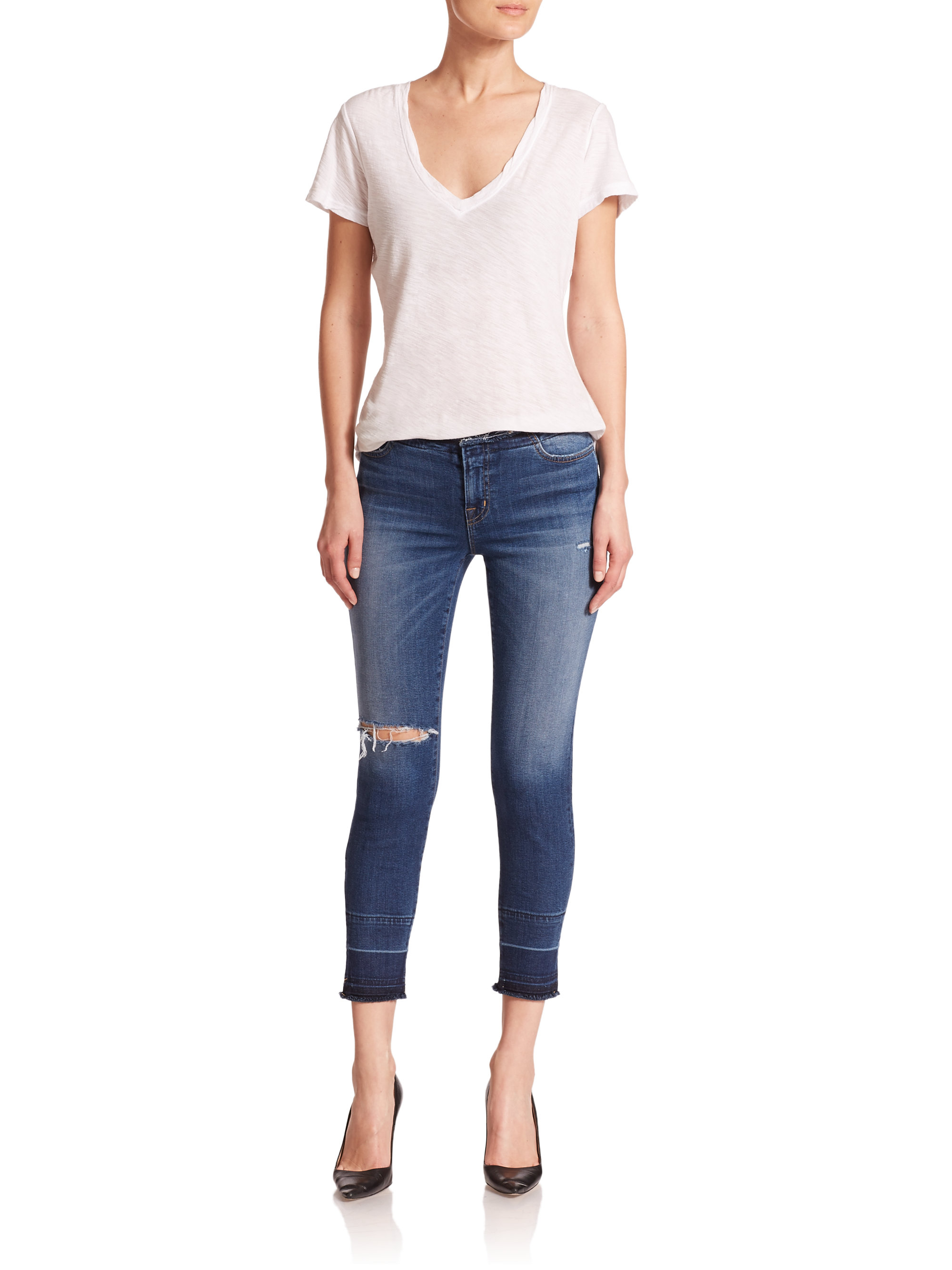 J brand 835 Mid-Rise Distressed Cropped Skinny Jeans in Blue   Lyst
