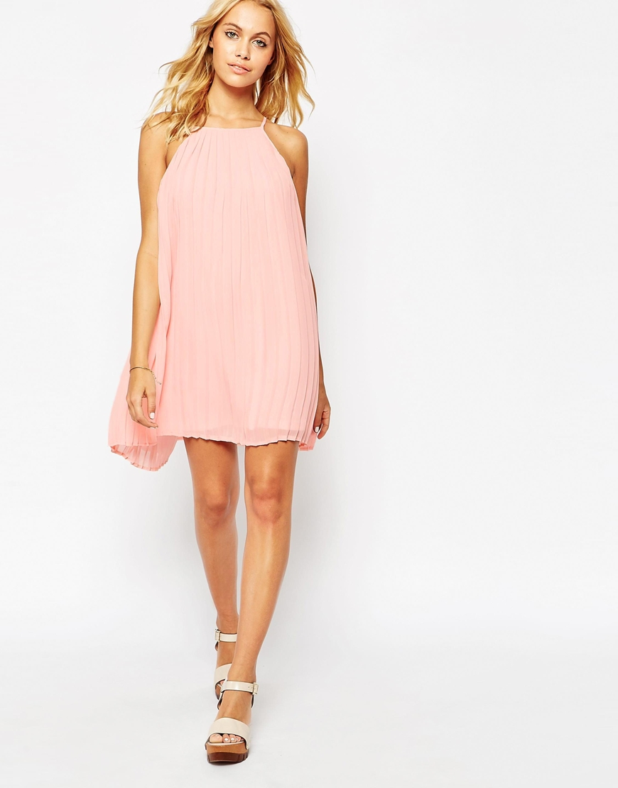 563c77b36ec Fashion Union Pleated Swing Dress With Halter Neck in Pink - Lyst