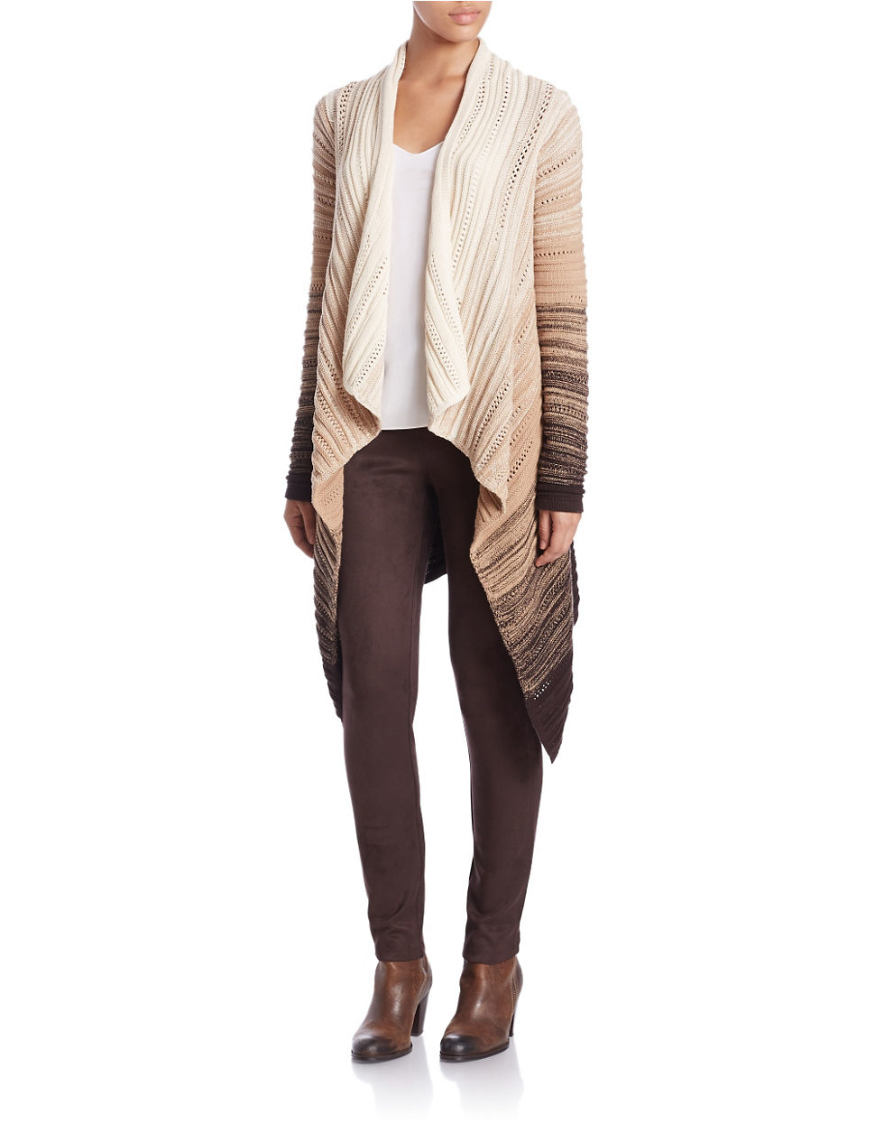 Lord & taylor Open-front Flyaway Cardigan in Brown | Lyst