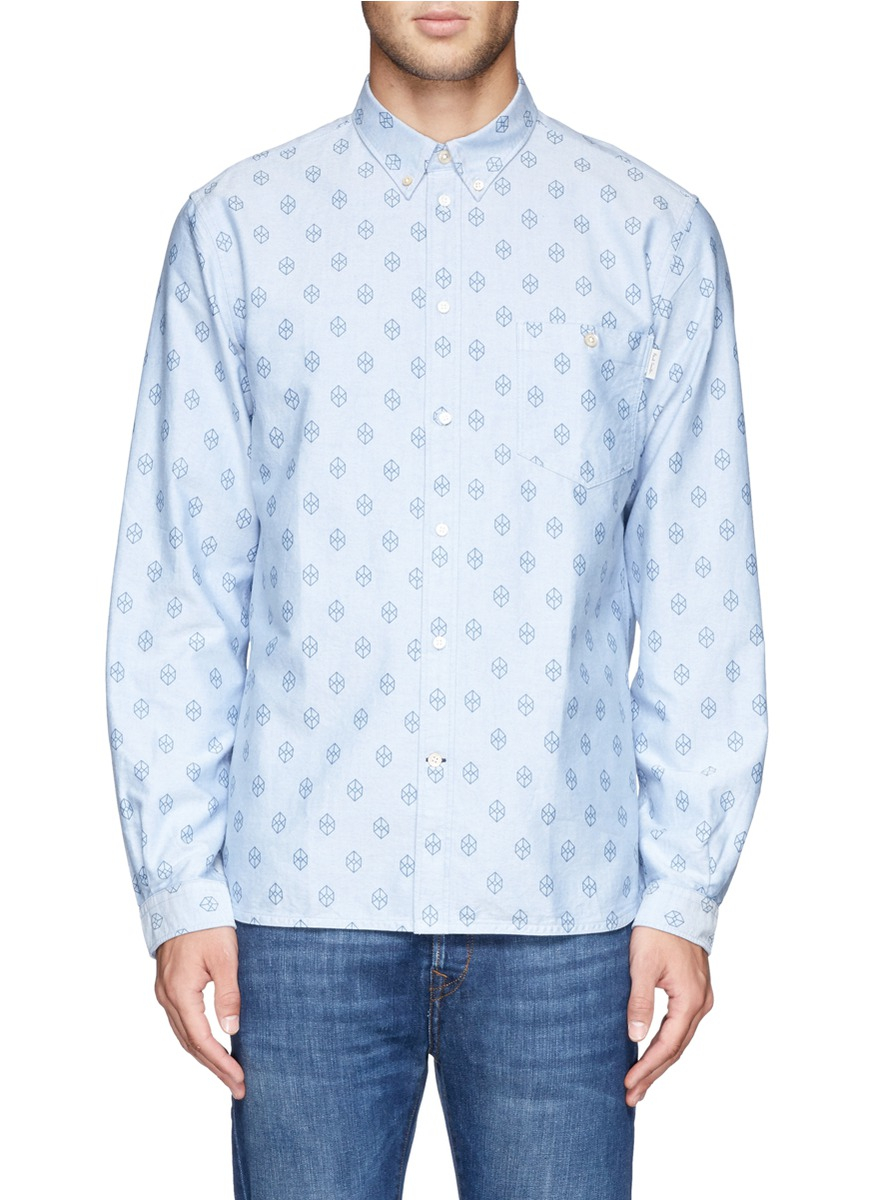 Lyst paul smith cube print oxford shirt in blue for men for Mens blue oxford shirt