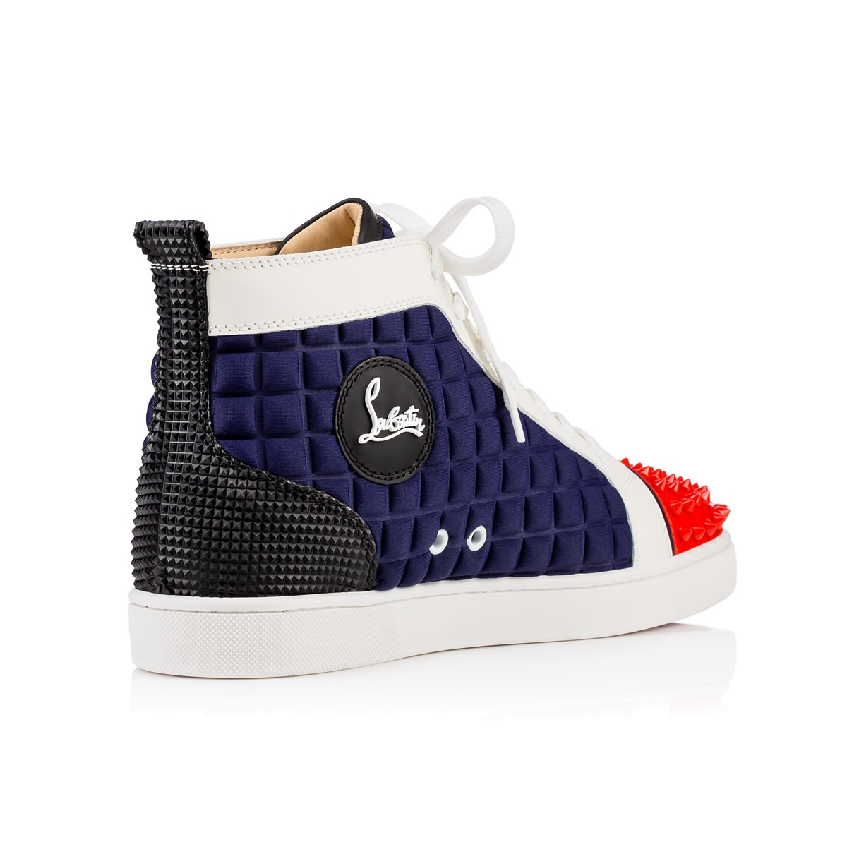 e0f0922218a5 ... canada lyst christian louboutin lou spikes neoprene high top sneakers  in blue for men 05bf9 3bf26