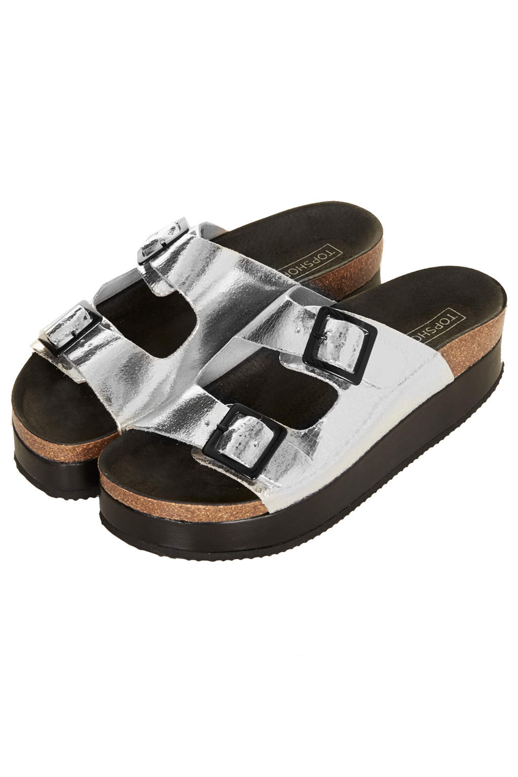 b5e1b00d1d31 Lyst - TOPSHOP Fang Double Buckle Flatform in Metallic