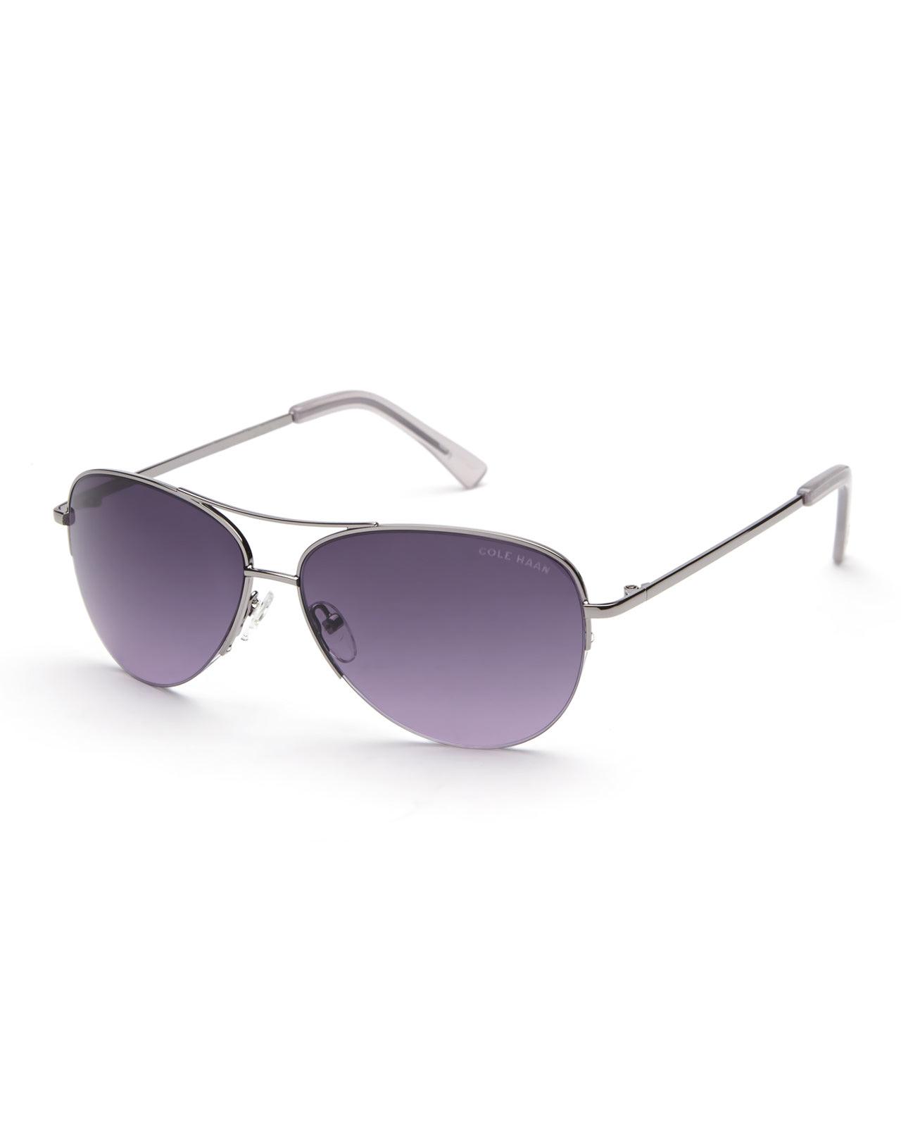378885bbb1 Lyst - Cole Haan Gunmetal   Purple C6139 Half-Rim Aviator Sunglasses ...