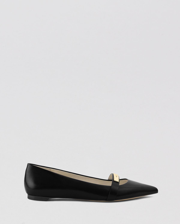 64b3617d2bf8 Lyst Michael Michael Kors Pointed Toe Flats Jess In Black