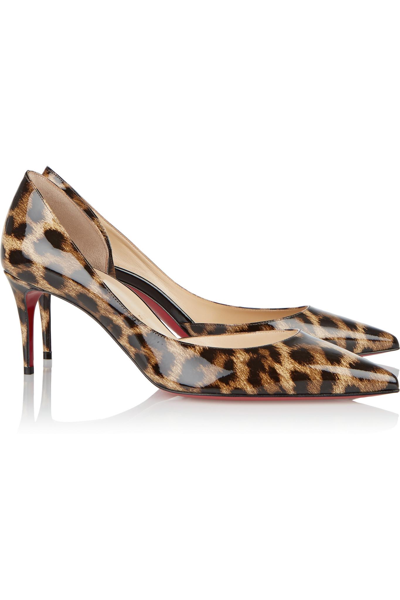 Christian louboutin Iriza 70 Leopard-print Patent-leather ...