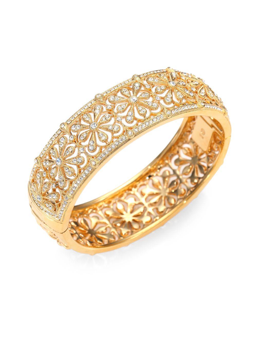 241d51826d4 Adriana Orsini White Stone Floral Hinge Bangle Bracelet in Metallic ...