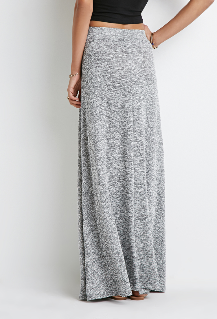 forever 21 marled knit maxi skirt in gray lyst