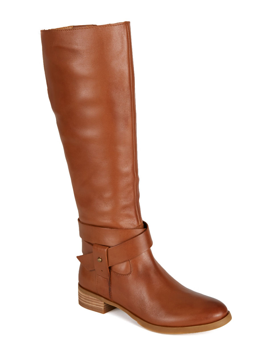 nine west vecelia classic leather boots in brown lyst