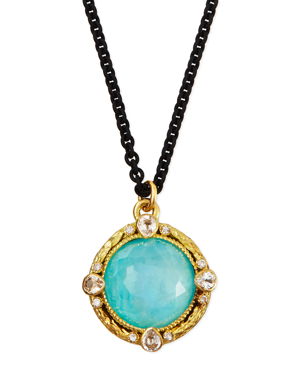 Armenta Blue Turquoise Moonstone Pendant Necklace In Blue