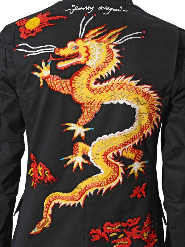 Valentino dragon embroidered gabardine jacket in black lyst