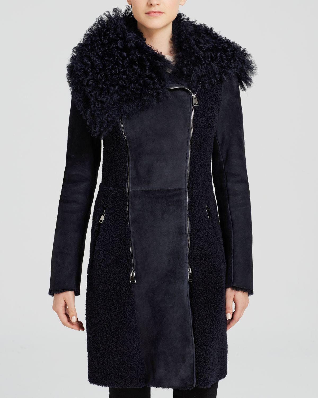 Maximilian Maximilian Asymmetric Curly Collar Lamb Shearling Coat ...