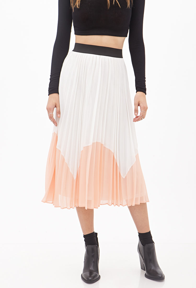 forever 21 accordion pleated colorblock midi skirt in