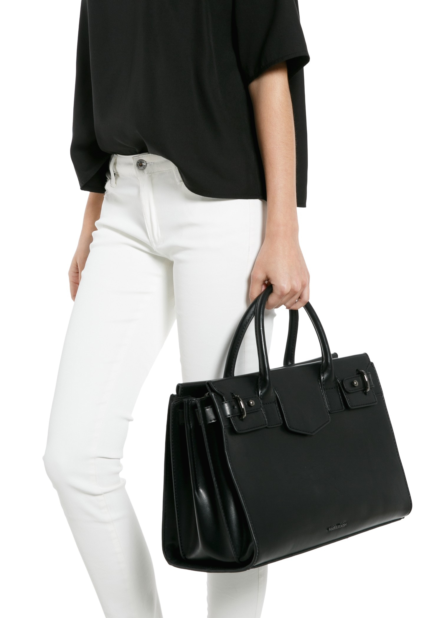 Mango Decorative Flap Shopper Bag in Black | Lyst