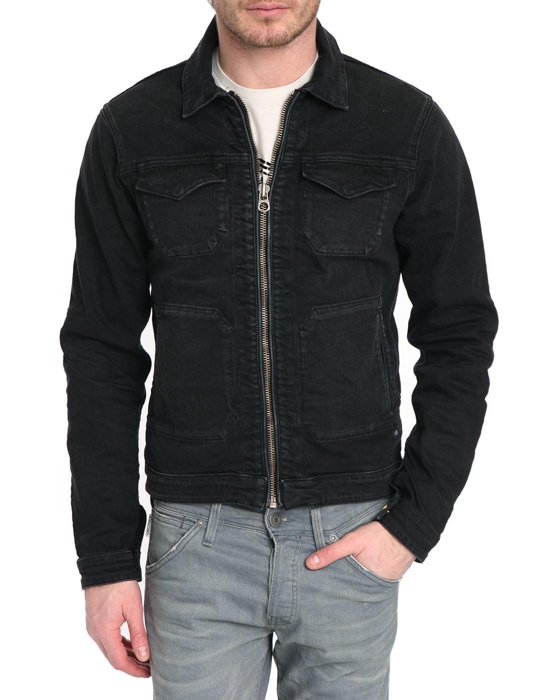 scotch and soda black zip up multipocket black washed denim jacket. Black Bedroom Furniture Sets. Home Design Ideas