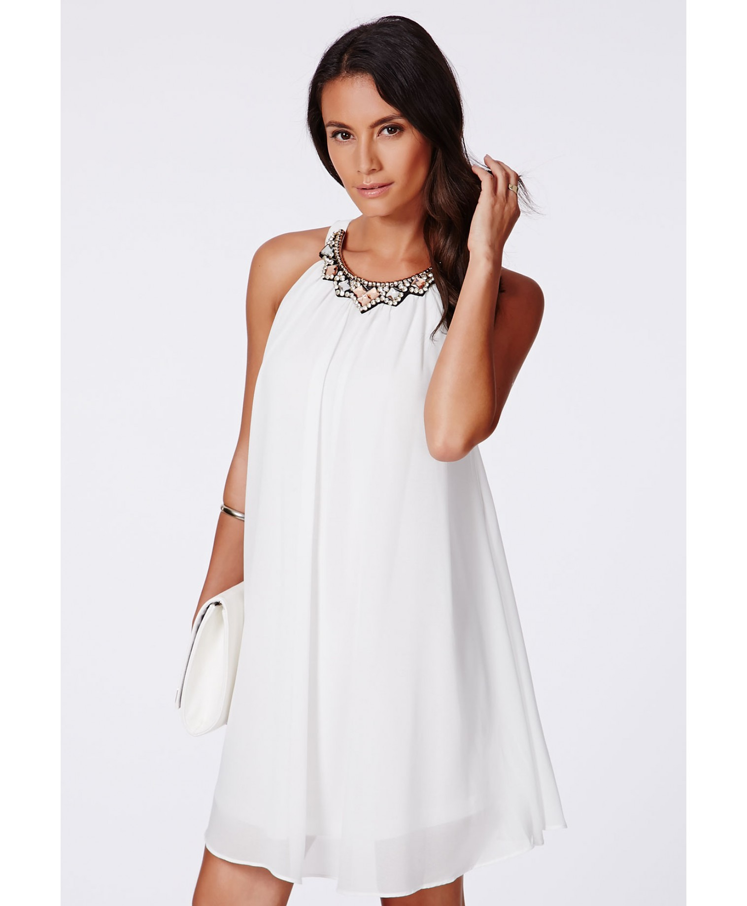 Missguided Larita Embellished Collar Swing Dress in White | Lyst