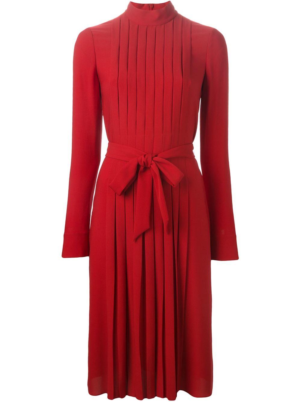 Ferragamo Pleated Dress in Red | Lyst