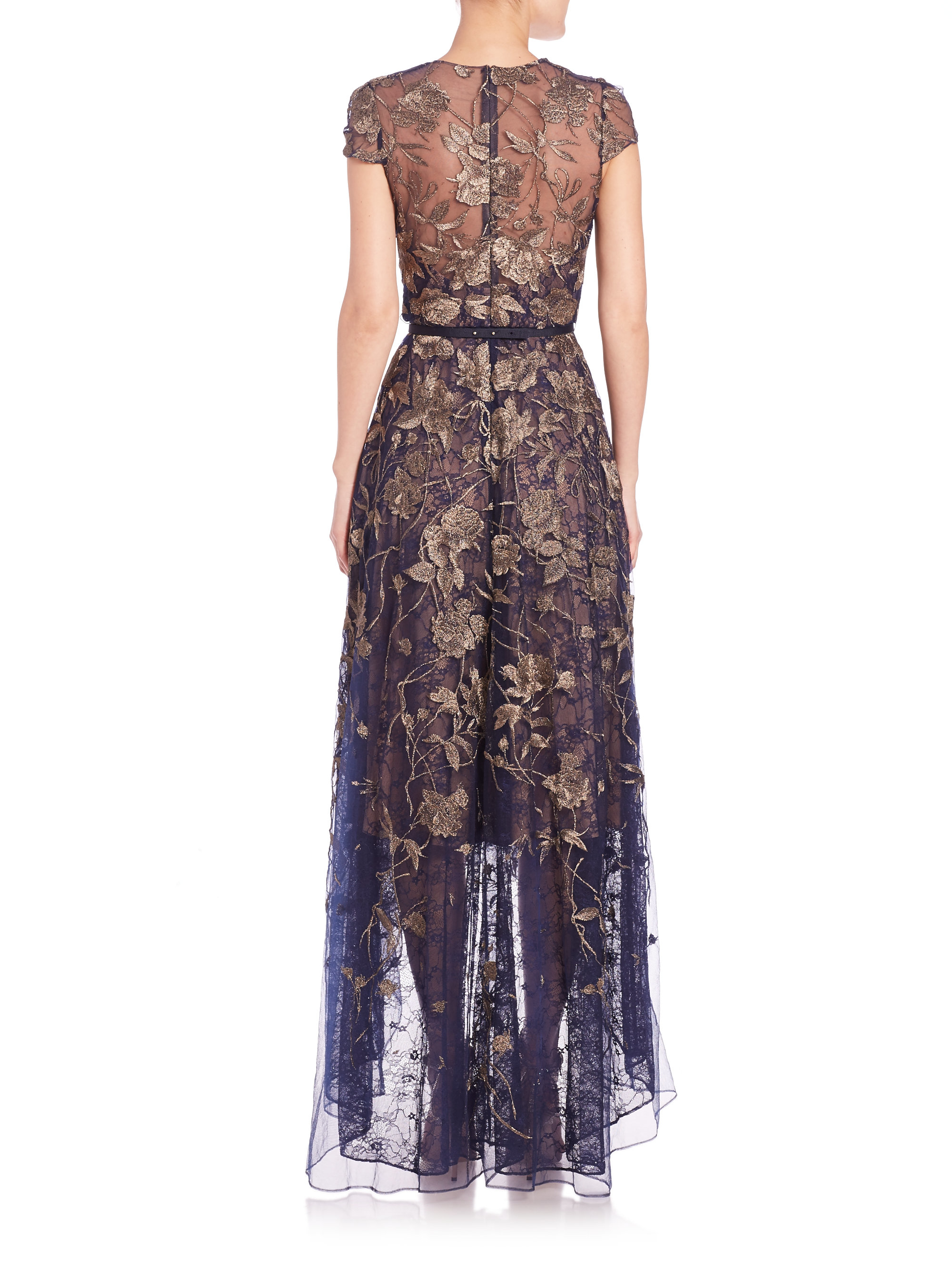 24df4a53366 Marchesa notte Embroidered Tulle Gown in Metallic - Lyst