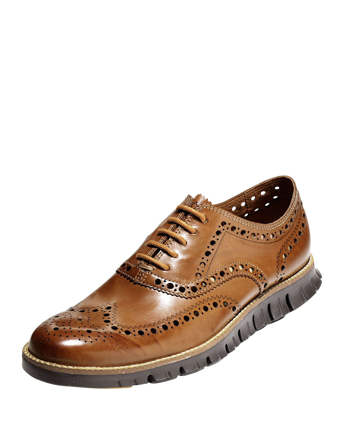 cedb6b8f7723 Lyst - Cole Haan Zerogrand Wing-Tip Oxford in Brown for Men