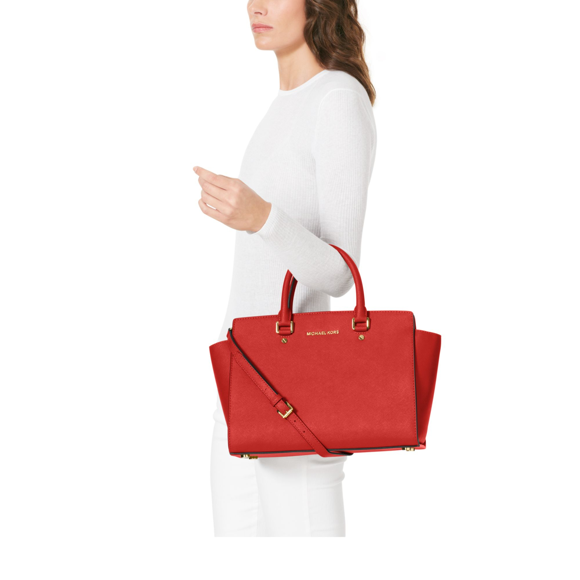 e1e45a970196 Michael Kors Selma Large Saffiano Leather Satchel in Red - Lyst