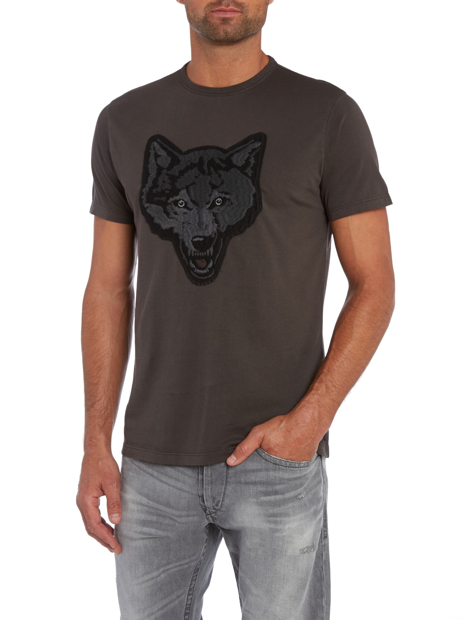 Diesel Wolf Head Applique Crew Neck T Shirt In Gray For