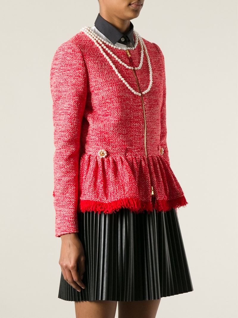 Moschino Pearl Embellished Sweater in Red | Lyst