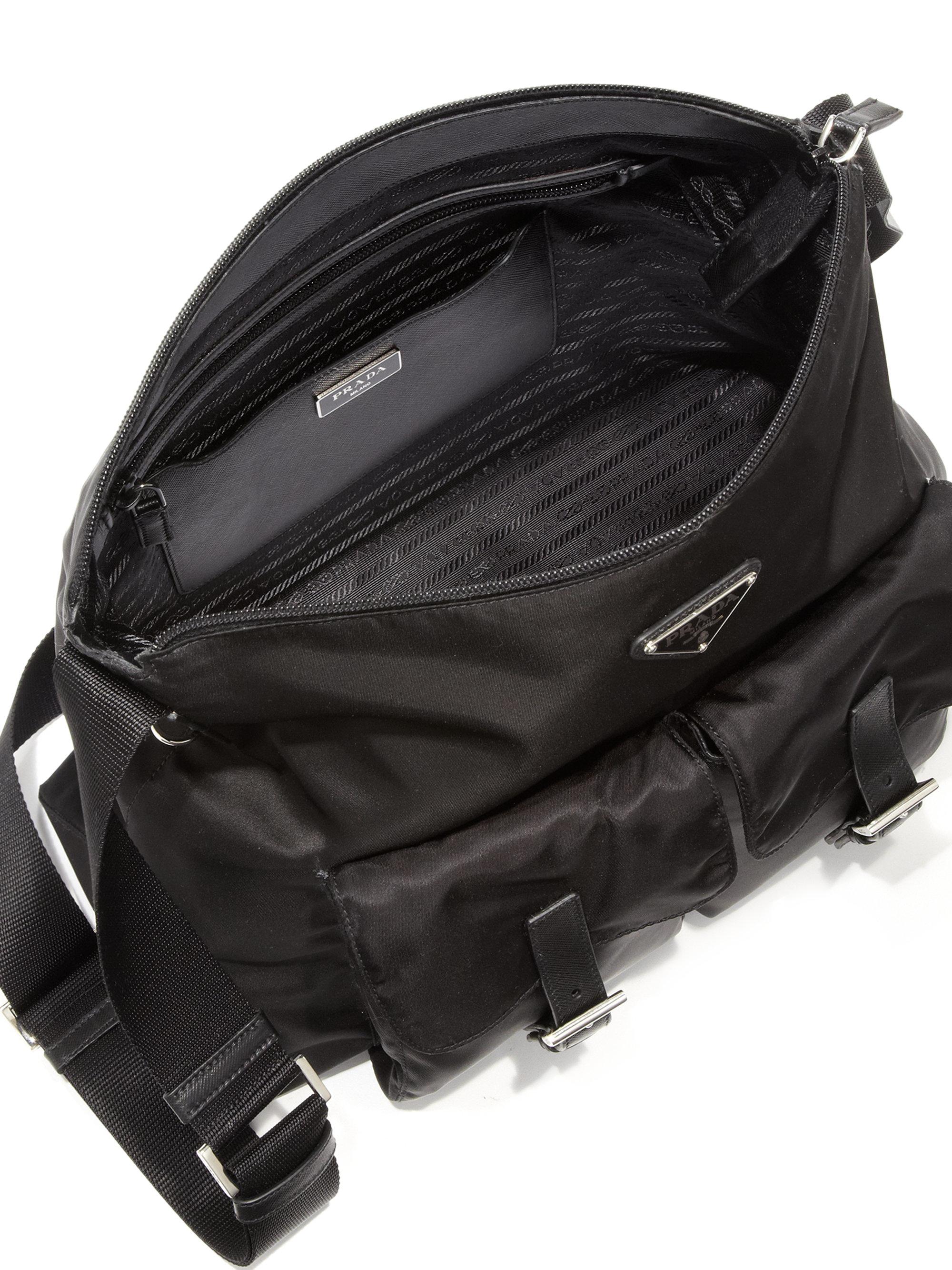 baby blue prada bag - prada messenger bag nylon and leather bag