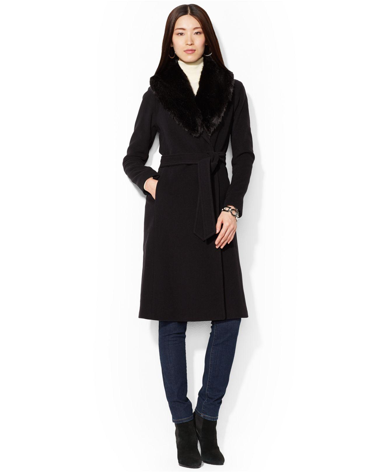 Lauren by Ralph Lauren Wool-Cashmere-Blend Belted Faux-Fur ...