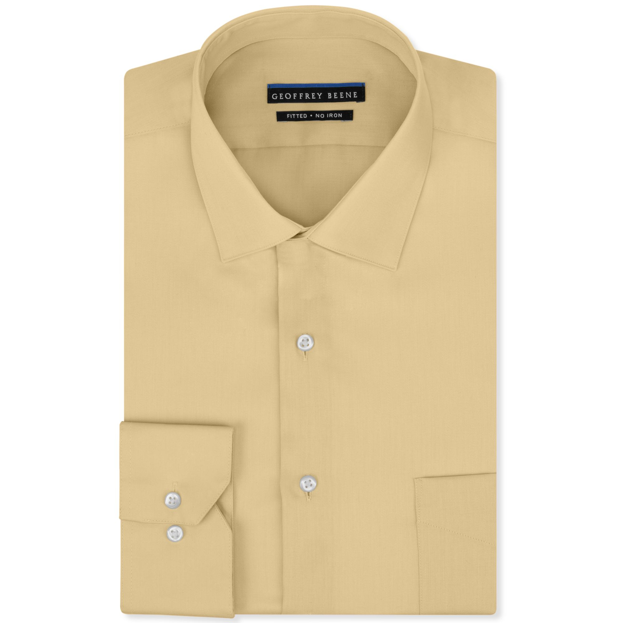 Geoffrey beene no iron fitted stretch sateen solid dress Mens no iron dress shirts