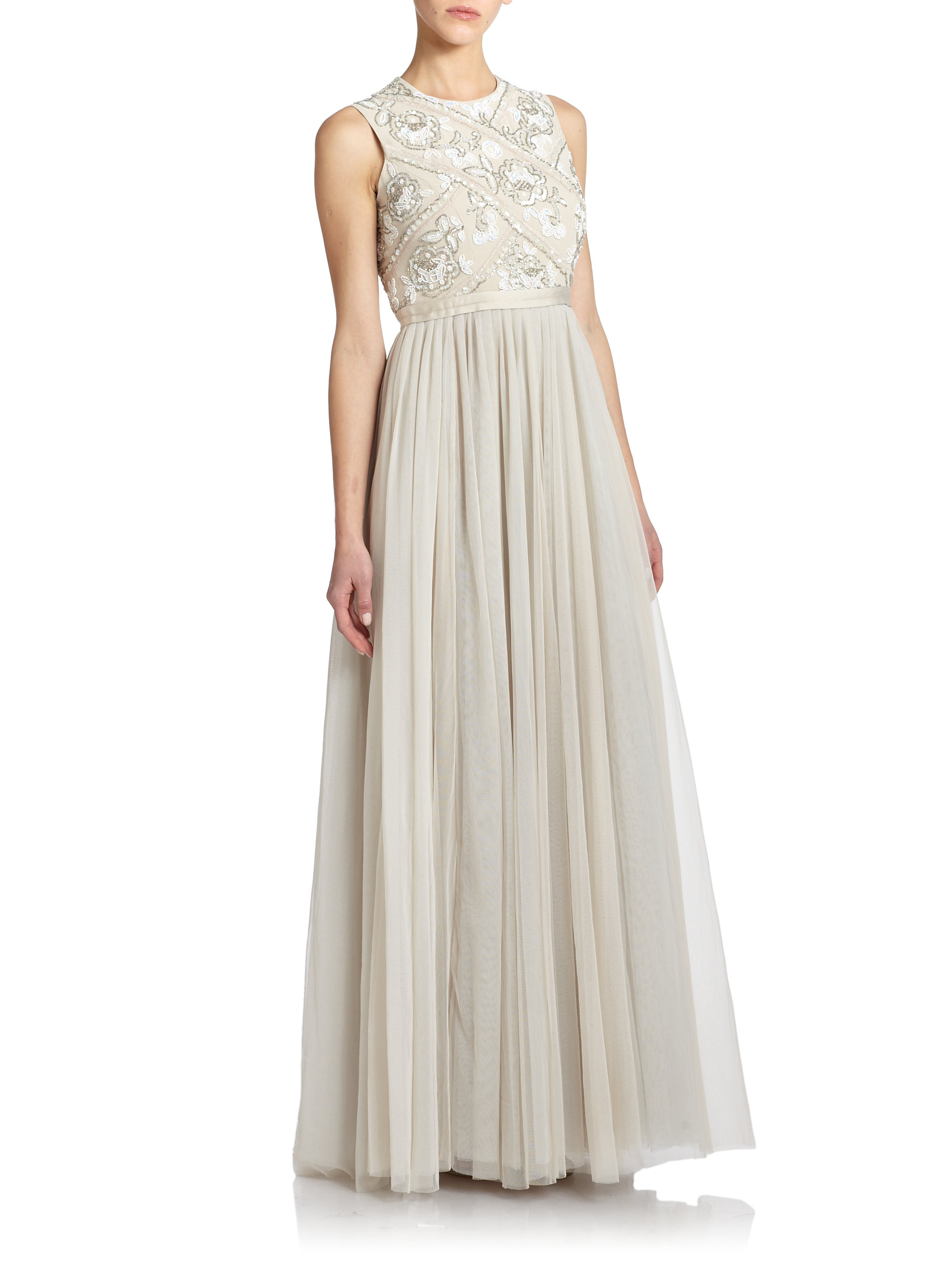 Needle Amp Thread Floral Embellished Maxi Dress In Pink Lyst