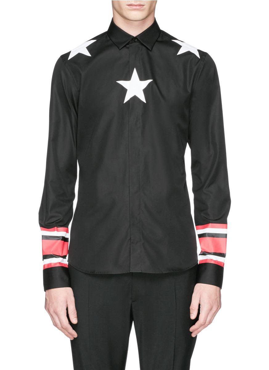 Givenchy star stripe print cotton poplin shirt in black for Givenchy 5 star shirt