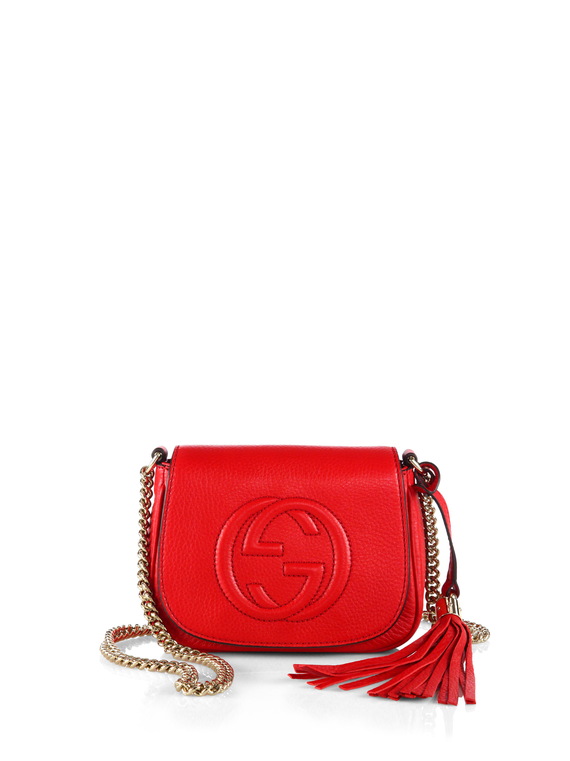 f9467d16716b Lyst - Gucci Soho Leather Chain Shoulder Bag in Red