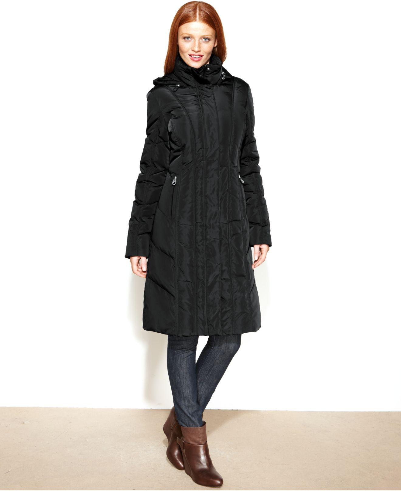 Lyst Calvin Klein Hooded Long Quilted Down Puffer Coat
