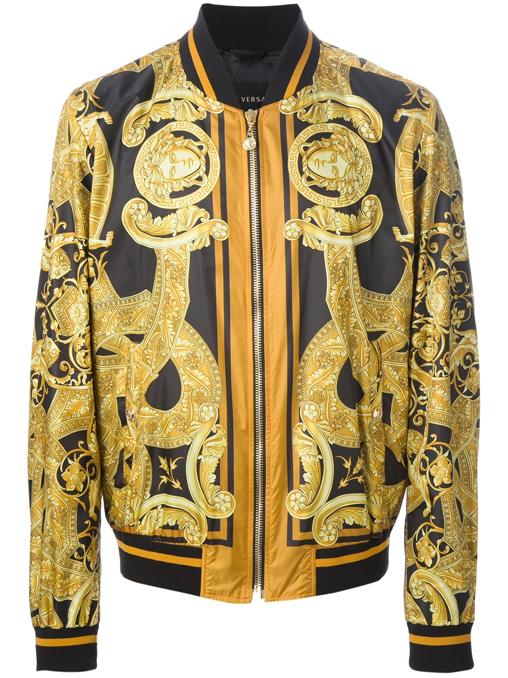 Versace Bomber Jacket In Gold For Men Black Lyst