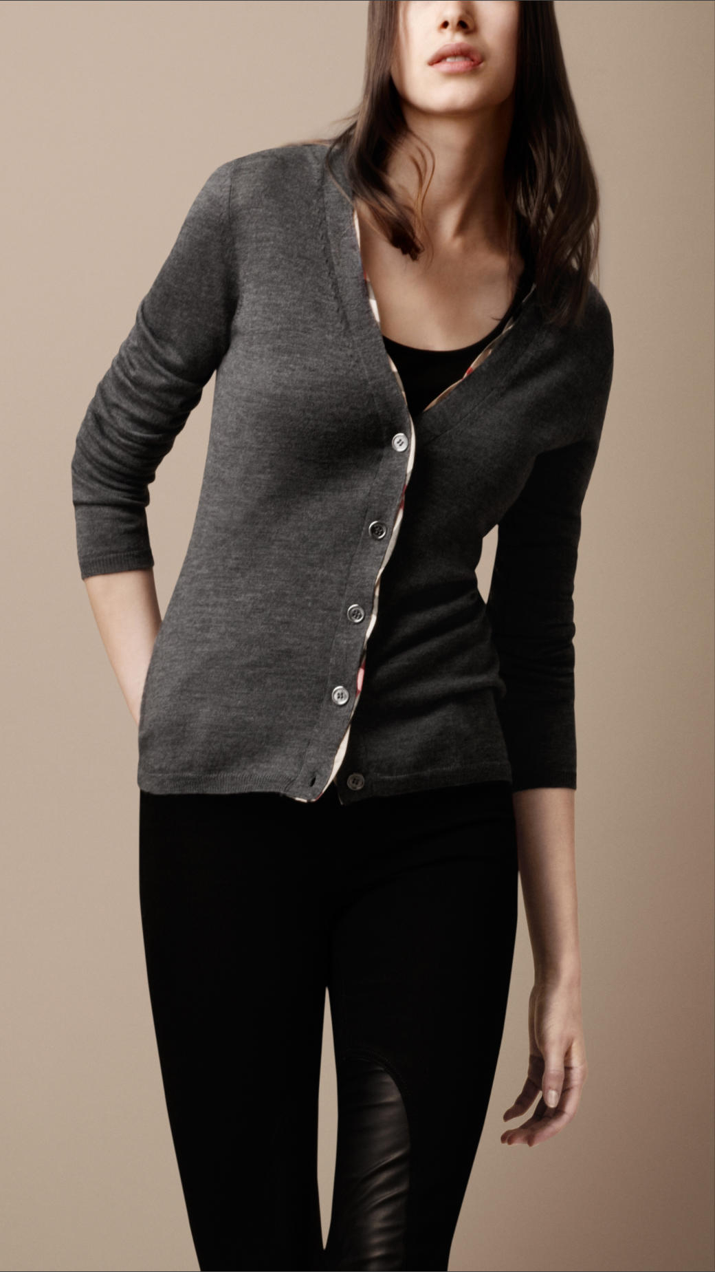 f467e4d01602b Lyst - Burberry Brit Merino Wool Cardigan with Twisted Check Placket ...