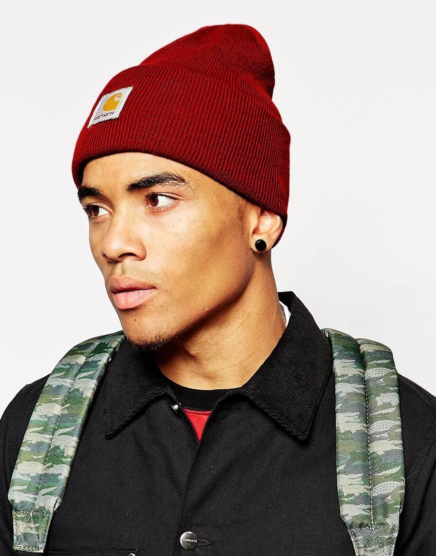 5f457eb1c22 Lyst - Carhartt Acrylic Watch Beanie Hat in Red for Men