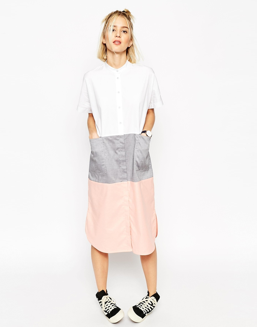 e5cf9f6f911d Lyst - ASOS Block Midi Shirt Dress