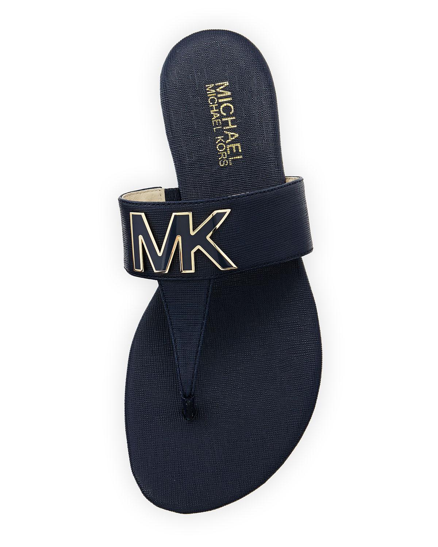 5e70dd1c3bb5 Lyst - MICHAEL Michael Kors Hayley Mk Leather Thong Sandal in Blue
