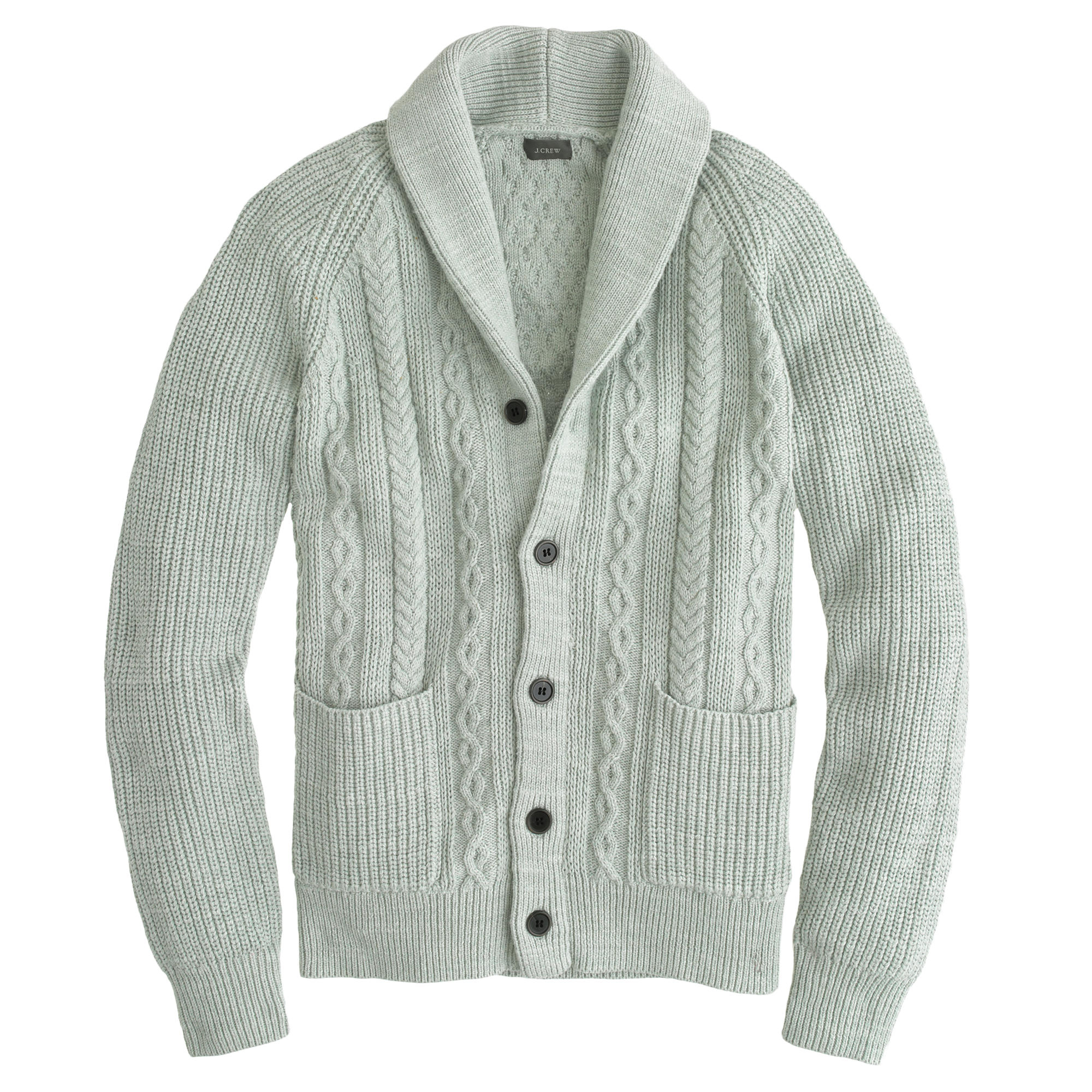 J.crew Textured Cotton Shawl-collar Cardigan Sweater in Gray for ...