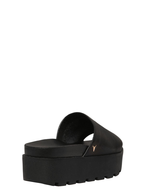 4b6b8c900c9e Lyst - Windsor Smith Leather Platform Slides in Black