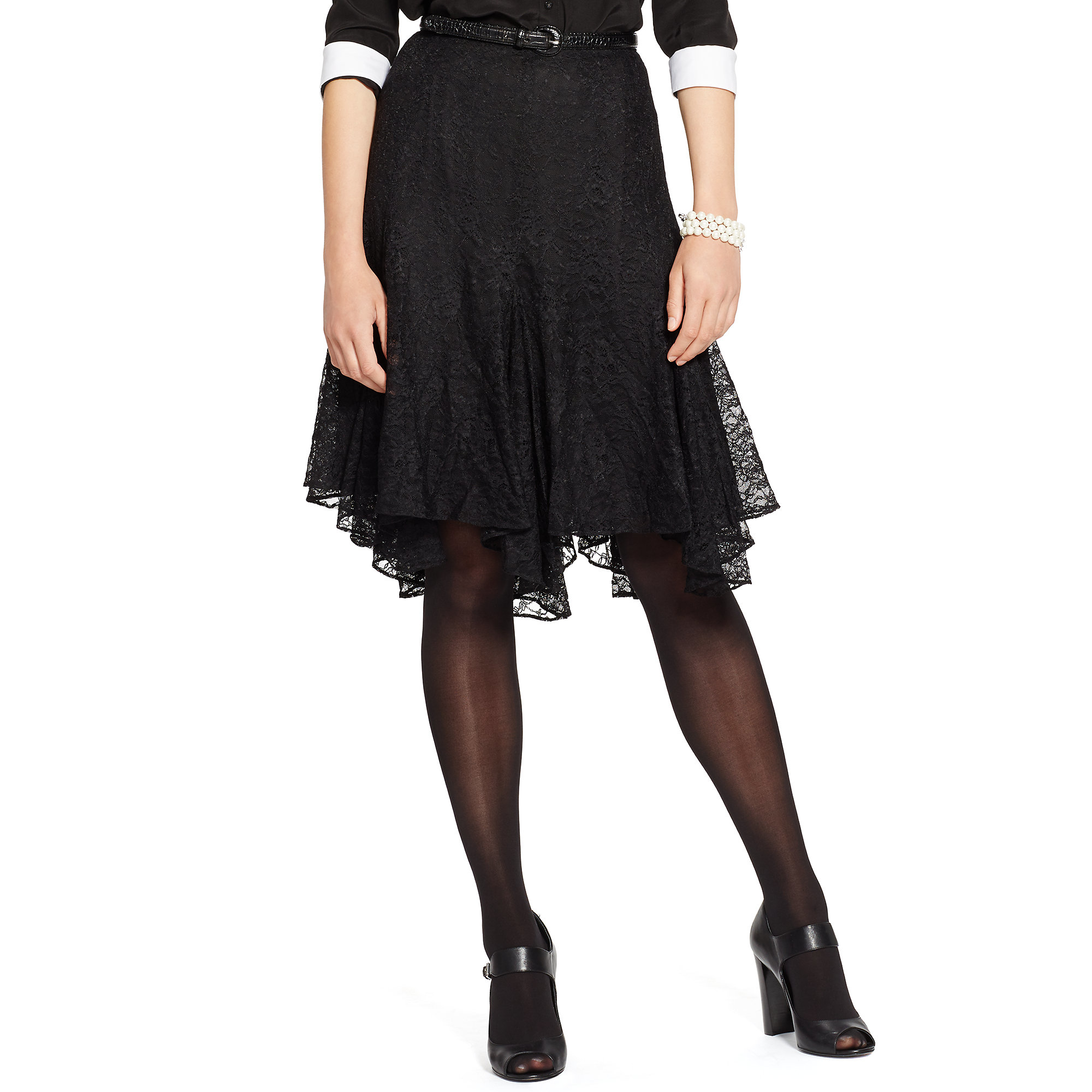 Ralph lauren Lace A-line Skirt in Black | Lyst