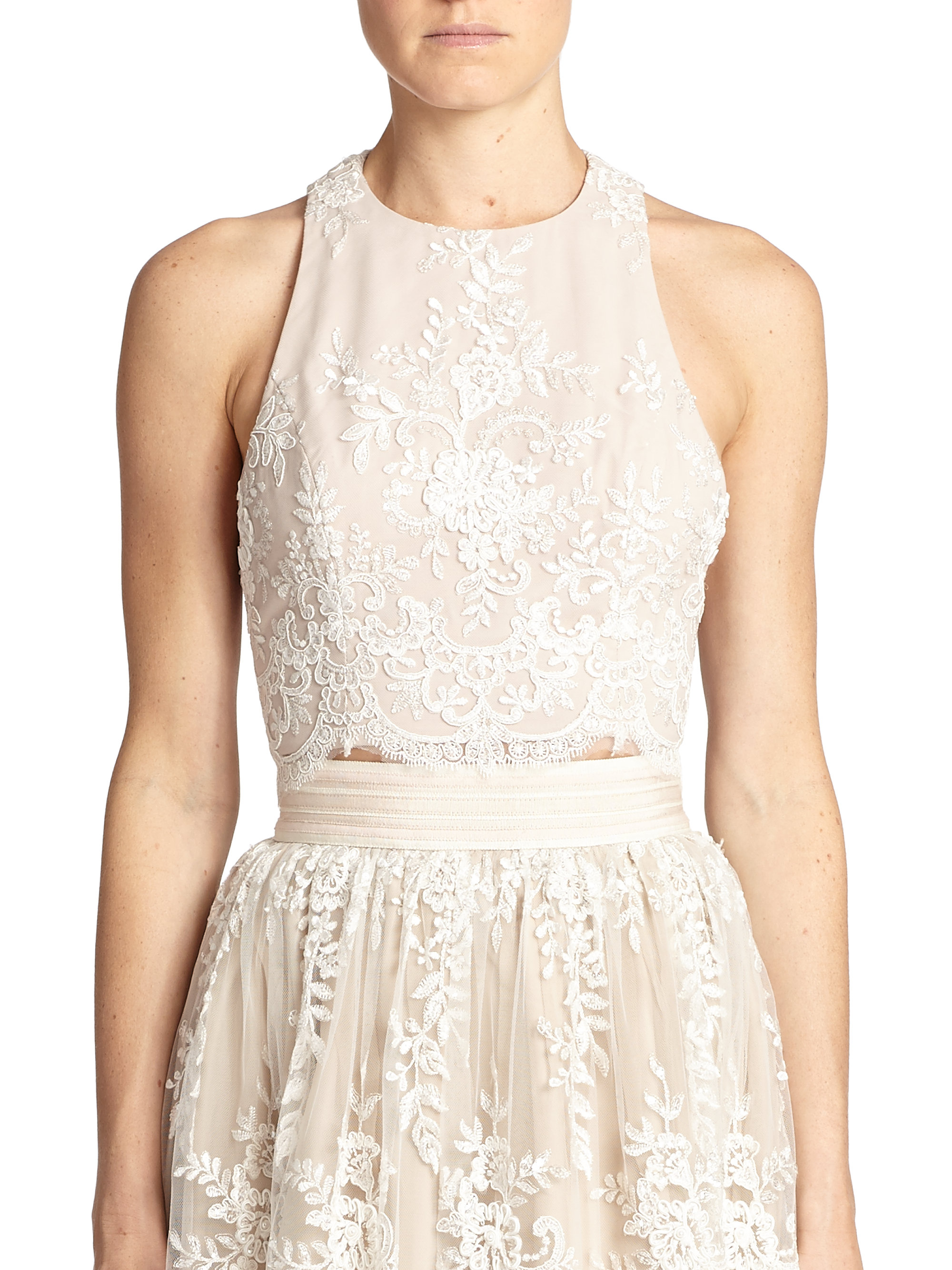524cc4522c6 Lyst - Alice + Olivia Blythe Lace-Overlay Cropped Top in White