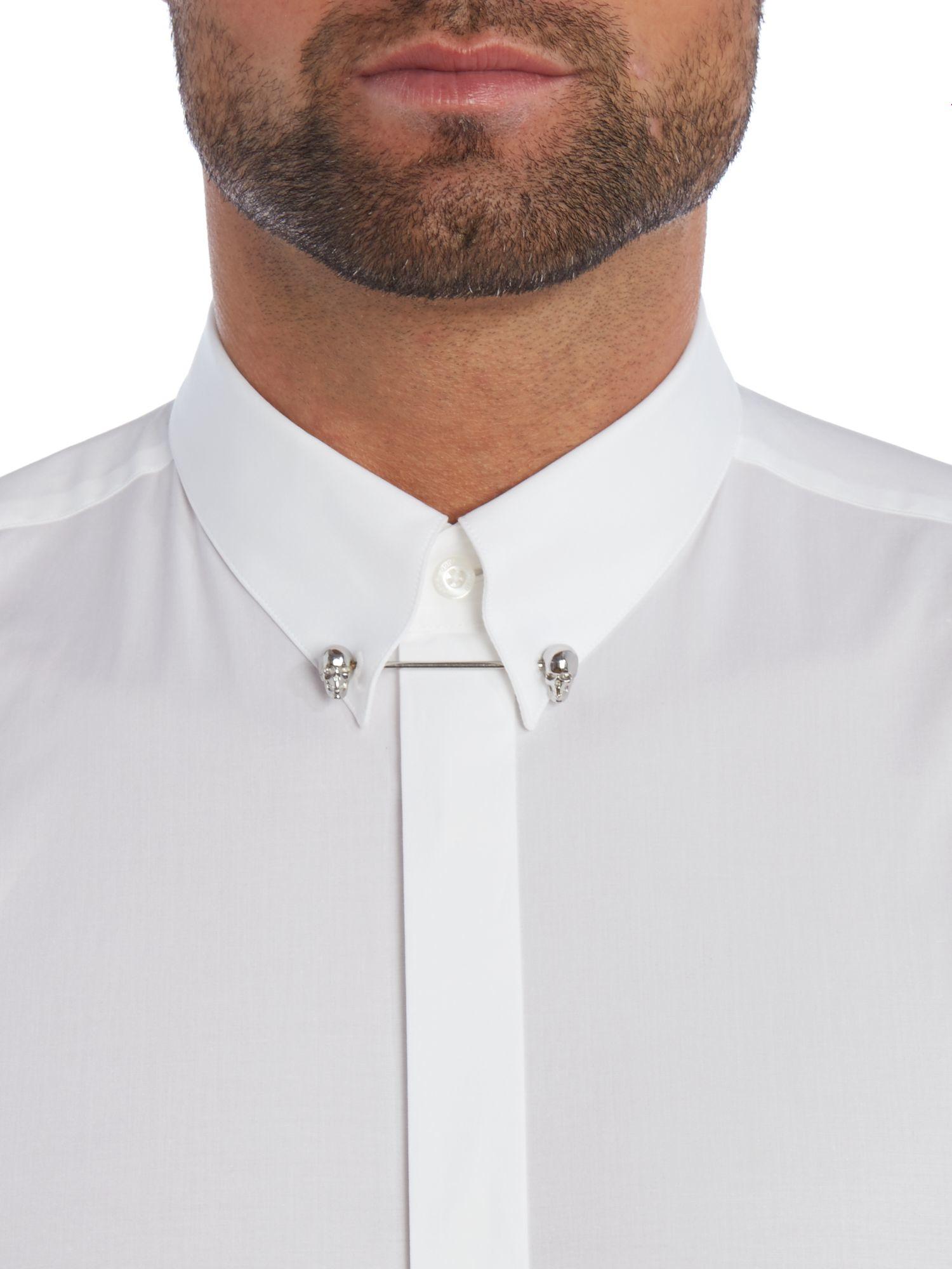 Hugo Enzel Slim Fit Skull Collar Bar Shirt In White For