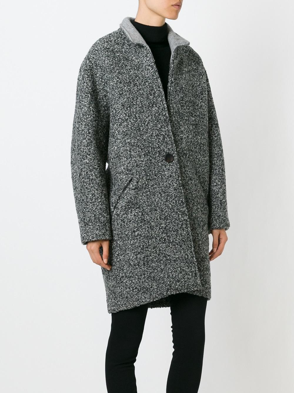 Isabel marant Daryl Neoprene Coat in Gray | Lyst