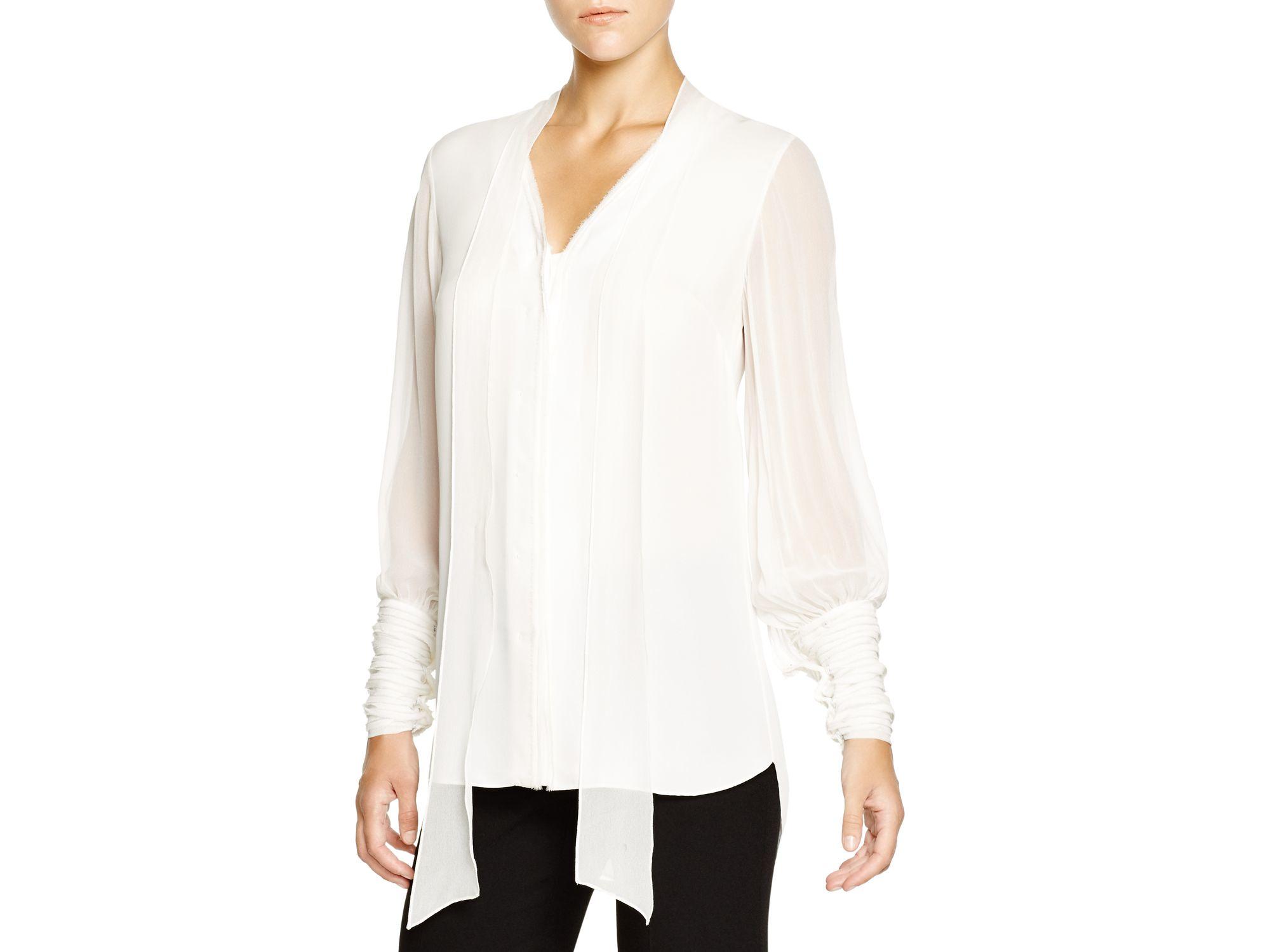 b58836c4f5a3f Lyst - Elie Tahari Shayna Silk Tie Neck Blouse in White