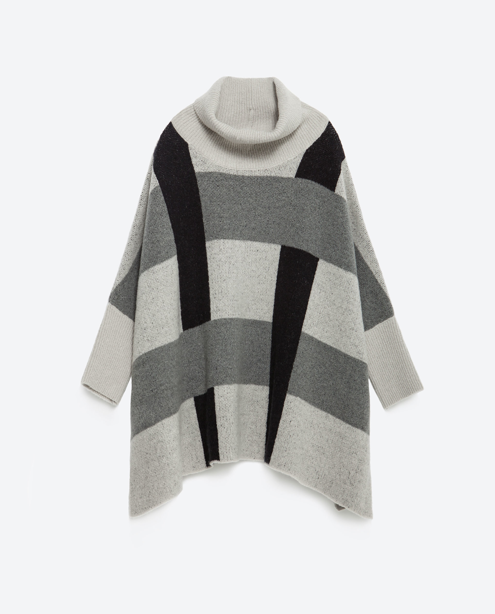 Zara Grey Ribbed Sweater With Side Slits 104