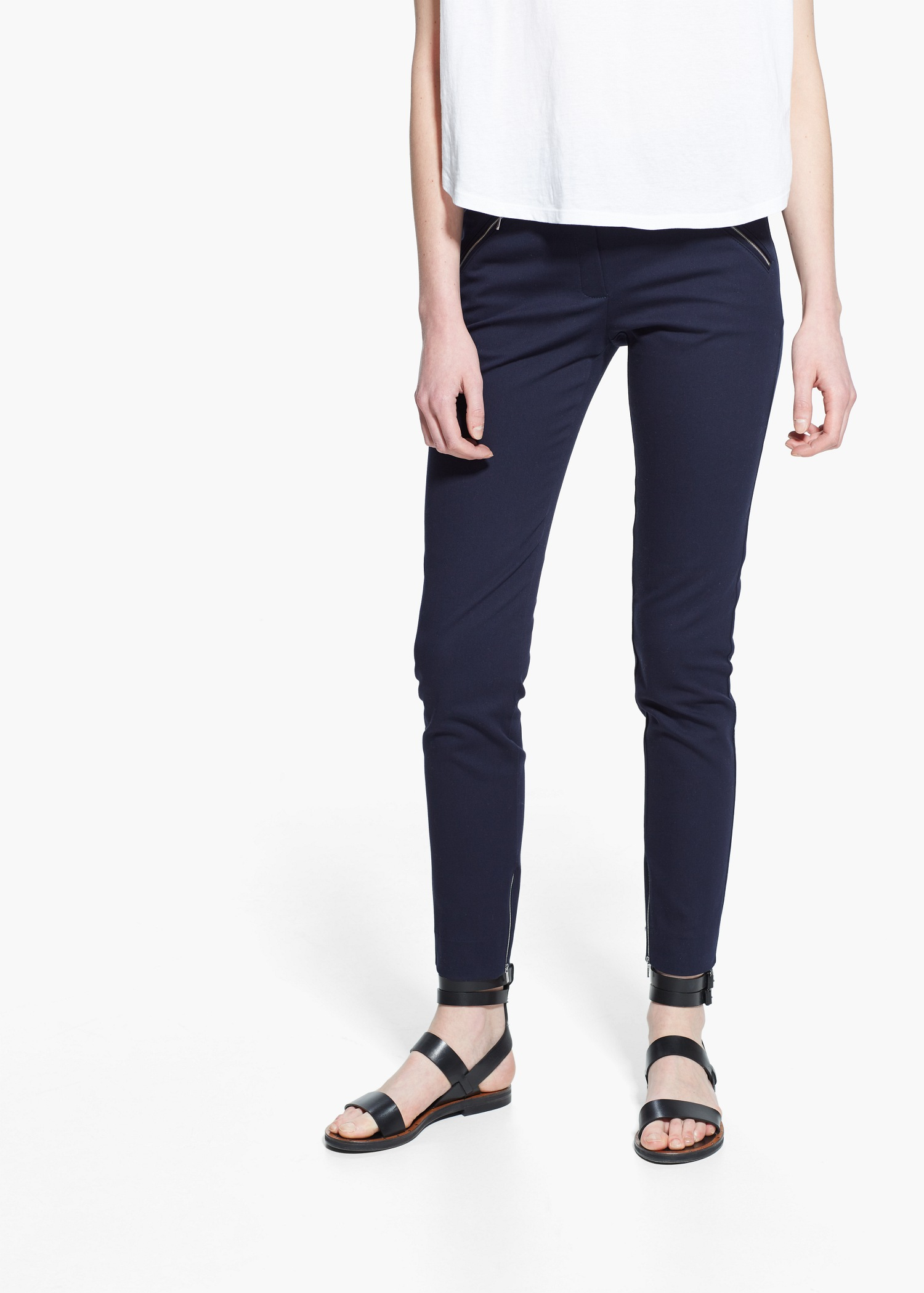 Lyst - Mango Zip Cotton Trousers in Blue