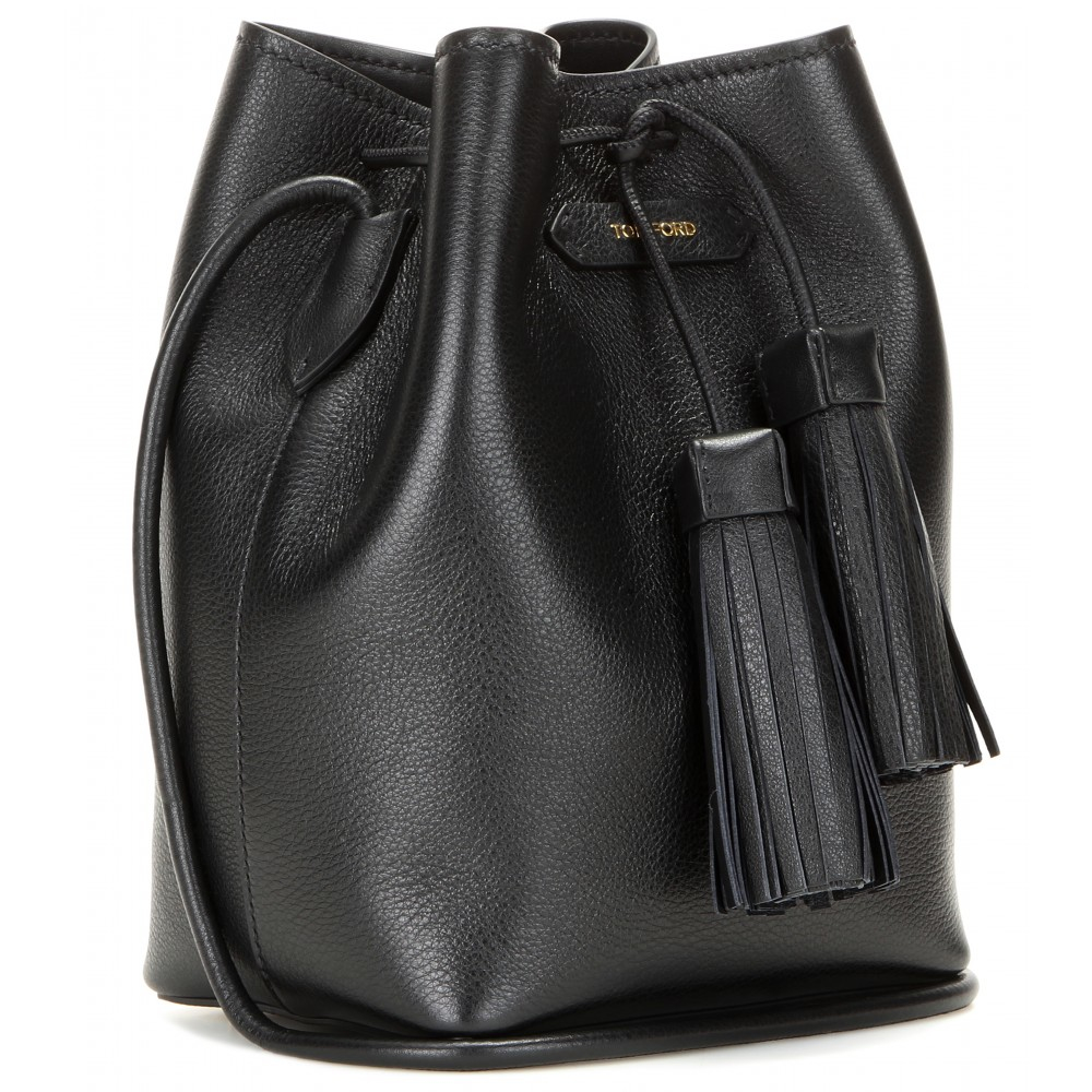 lyst tom ford leather bucket bag in black. Black Bedroom Furniture Sets. Home Design Ideas